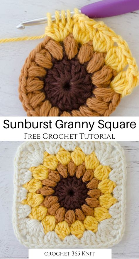 This super easy free crochet tutorial a perfect basic project to get started crocheting! It's such a cool variation of the granny square! projects easy Sunburst Granny Square - Crochet 365 Knit Too Granny Square Crochet Pattern, Crochet Squares, Crochet Blanket Patterns, Crochet Motif, Knitting Patterns, Granny Square Tutorial, Free Crochet Square, Knitting Squares, Crochet Stitches