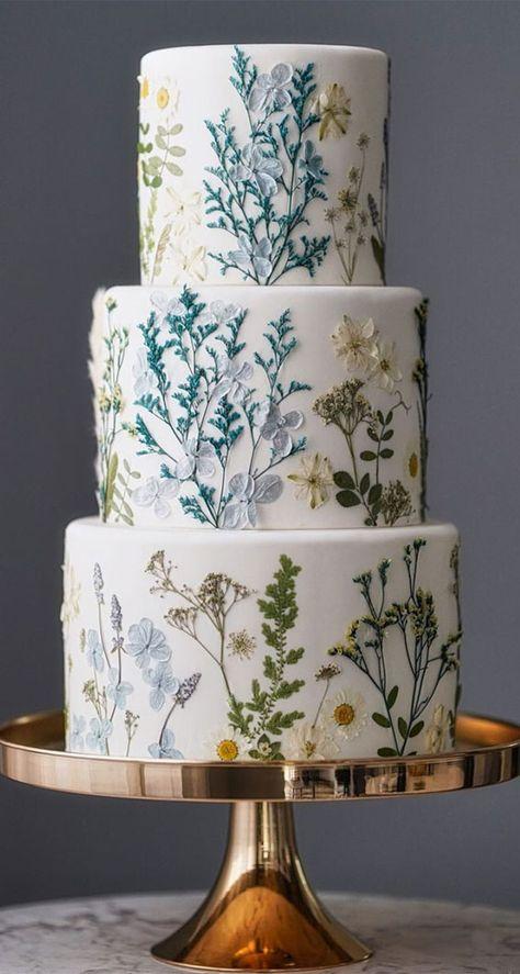 Cute Cakes, Pretty Cakes, Gorgeous Cakes, Amazing Cakes, Wedding Cake Designs, Best Wedding Cakes, 3 Tier Wedding Cakes, Painted Wedding Cake, White Wedding Cakes