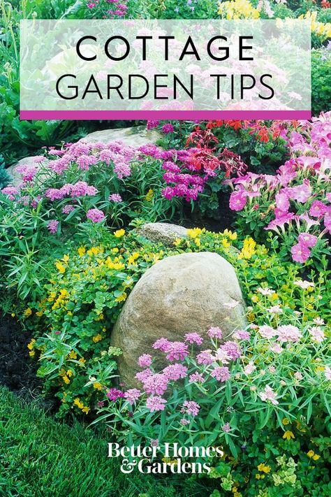 Cottage gardens are intentionally casual. These tips will help ensure your space is easy to maintain and looks gorgeous in every season. #gardening #gardendesign #cottagegarden #easycottagegarden #bhg