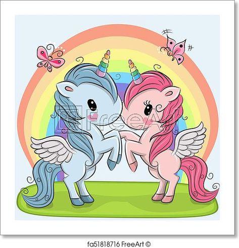 Cute Unicorns on a rainbow background - Artwork - Art Print from FreeArt.com