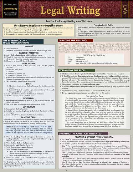 Quickstudy Legal Writing Laminated Study Guide Law School Life Studying Law Law School Prep