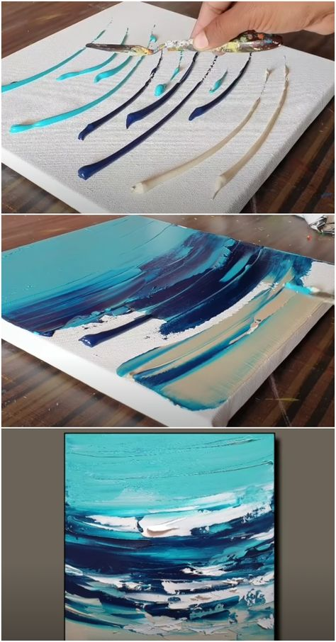 Ocean Paintings On Canvas, Abstract Ocean Painting, Easy Paintings, Diy Canvas Art, Diy Wall Art, Diy Art, Canvas Ideas, 3 Canvas Painting Ideas, Abstract Canvas Wall Art