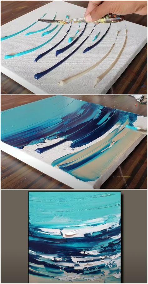 Ocean Paintings On Canvas, Abstract Ocean Painting, Diy Canvas Art, Easy Paintings, Diy Wall Art, Diy Art, Canvas Ideas, 3 Canvas Painting Ideas, Abstract Canvas Wall Art