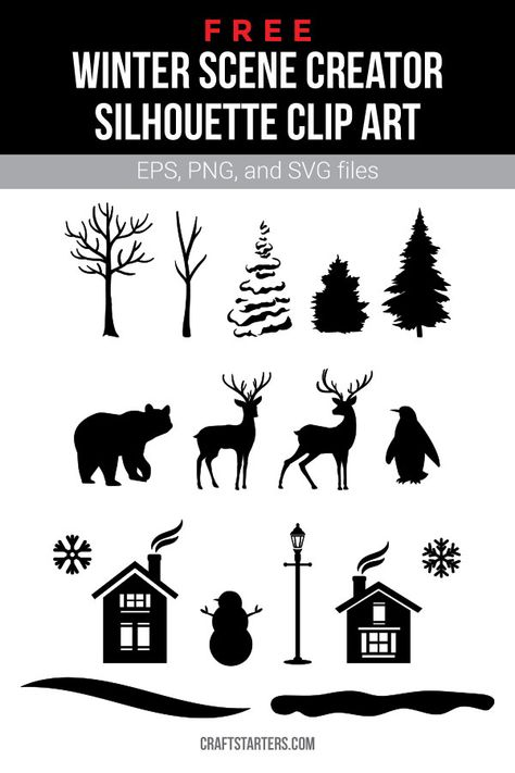 Free winter scene creator silhouette clip art in EPS, PNG (transparent), and SVG formats. Rabbit Silhouette, Silhouette Clip Art, Silhouette Cameo Projects, Free Silhouette Files, Cricut Christmas Ideas, Christmas Svg, Xmas, Halloween Clipart Free, Winter Szenen