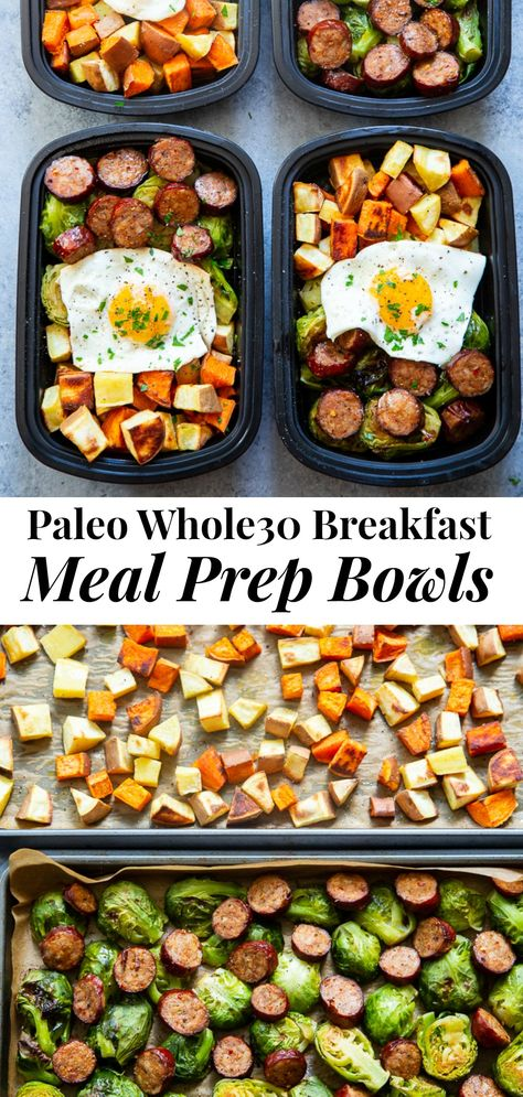 Get breakfast ready the night before with these easy sweet potato sausage veggie and egg Paleo breakfast meal prep bowls! Theyre simple complaint dairy free junk free tasty and filling! Paleo Meal Prep, Lunch Meal Prep, Meal Prep Bowls, Paleo Food, Healthy Food, Food Meal Prep, Healthy Eating, Meal Prep Dinner Ideas, Weekly Meal Prep