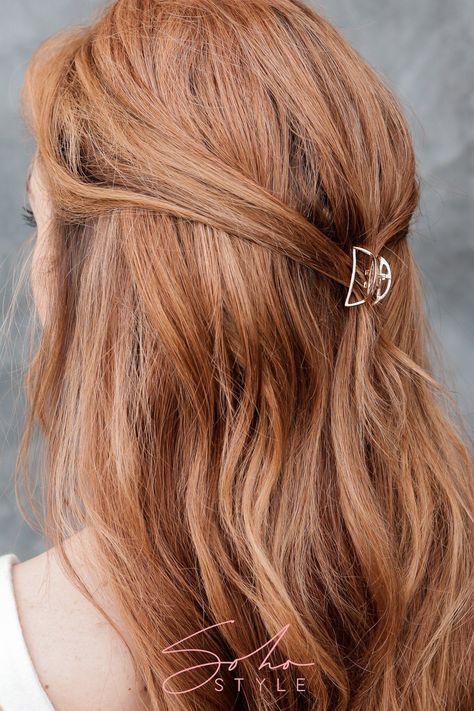 Modern Metal Rectangular Hair Jaw & Mini Metal Moon Hair Jaw Set