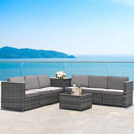 Gymax Set Of 8 Gray Rattan Wicker Sofa Table Outdoor Cushioned Sectional Patio Furniture Walmart Com In 2020 Sectional Patio Furniture Wicker Sofa Table Rattan Patio Furniture