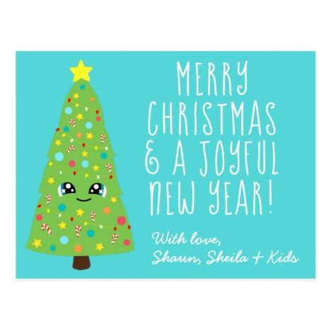 Christmas Tree Cartoon Christmas Tree Christmastree Cute Blue Kawaii Christmas Tree Cartoon Merry Xmas Postc In 2020 Kawaii Christmas Custom Holiday Card Merry Xmas