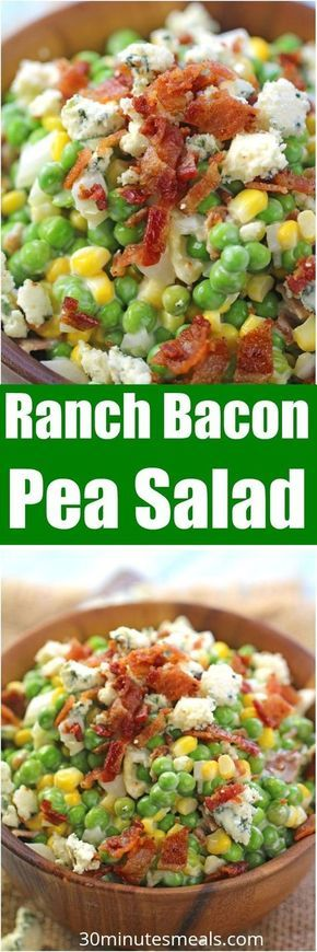 Ranch Bacon Pea Salad is the perfect summer salad. Made with creamy ranch, lots of blue cheese and delicious, crispy bacon. #side #salad #peasalad