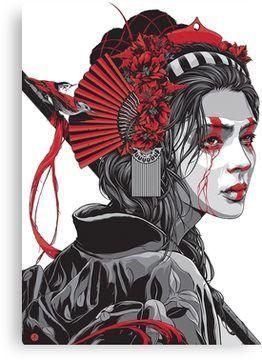 'Female Samurai' Canvas Print by Alex Borg Warrior Tattoo, Warrior Drawing, Female Samurai, Japanese Art, Character Art, Japan Tattoo Design, Illustration Art, Female Samurai Art, Art