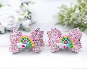 Rainbow Hair Clip Glitter Bow Rainbow  Headband Piggy Clips No Slip Clips Girl Birthday Bows Toddler Hair Clips Pigtail Bows 3 Hair Bow