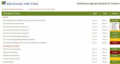 Conference Agenda Checklist \ Timeline - An agenda with a - sample sales meeting agenda