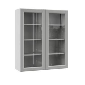 Hampton Bay Designer Series Elgin Assembled 36x42x12 In Wall Kitchen Cabinet With Glass Doors In Heron Gray Wgd3642 Elgr The Home Depot Glass Kitchen Cabinet Doors Glass Cabinet Doors Glass Kitchen Cabinets