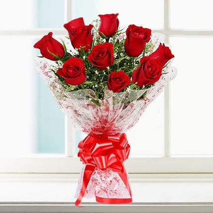 Bigwishbox Premium Fresh 10 Red Rose Bouquet Wrap With Cellefin Packaging Flower Delivery Online Flower Delivery Fresh Flowers Online