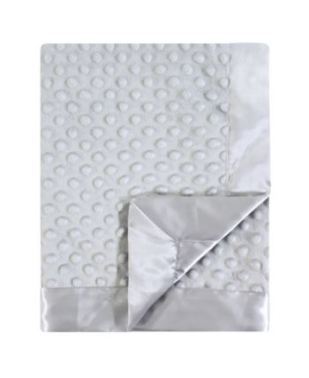 Gray Hudson Baby Boy and Girl Dotted Mink Blanket with Satin Binding