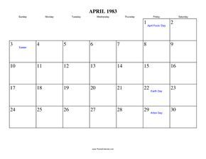 Free Printable Calendar For April 1983 View Online Or Print In