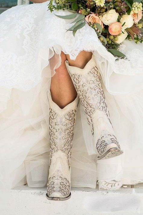 Corral Boot Company Women's White with Glitter Inlay Western Snip Toe Boots - Cowgirl - Wedding dresses Rodeo Party, Dream Wedding, Wedding Day, Perfect Wedding, Wedding Stuff, Budget Wedding, Spring Wedding, Wedding Reception, Boho Wedding