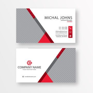 White Business Card With Red Details Business Cards Vector Templates White Business Card Graphic Design Business Card