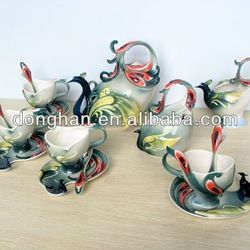 Source Grs Hand Crafted Porcelain Enamel Delicate Tea Coffee Cup Set With Saucer And Spoon Blue Deer On M Alib In 2020 Porcelain Tea Set Unique Glassware Coffee Set