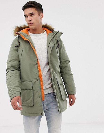 Jack Jones Parka Jacket With Faux Fur Hood Fur Hood Jacket Jackets Streetwear Jackets