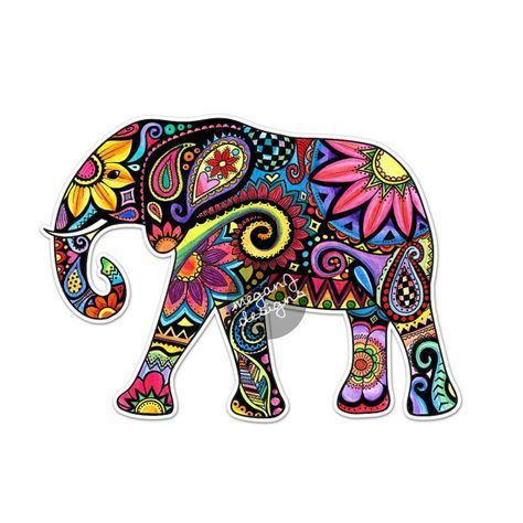 Elephant in Green /& Blue Pattern Printed Decal Window//Car//Truck **NEW ITEM
