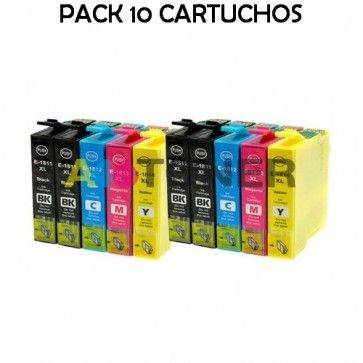 Pack 10 Cartuchos De Tinta T1811 T1812 T1813 T1814 Compatible 18xl