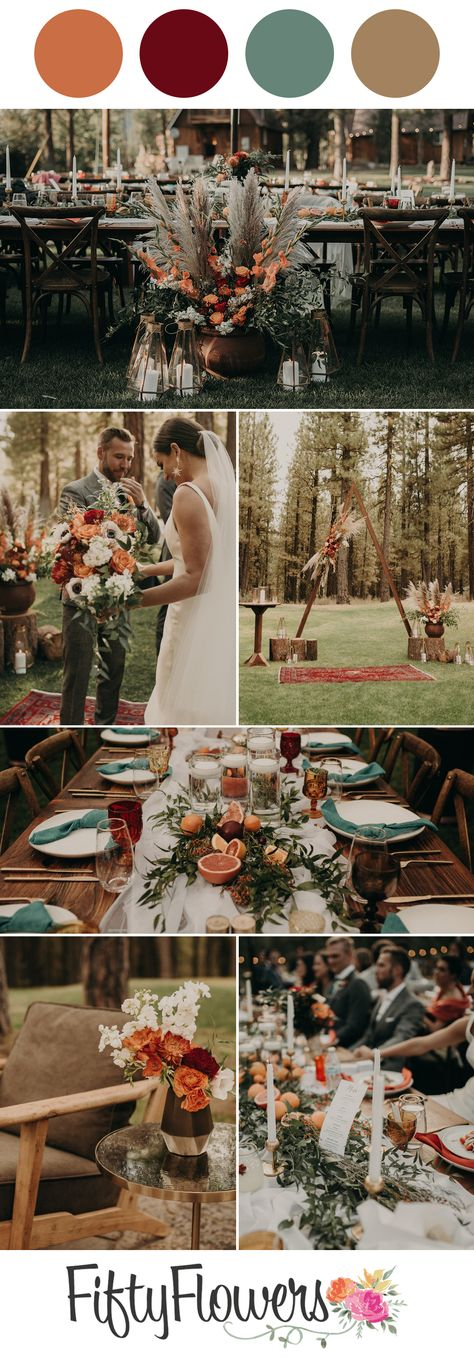Deep citrus hues are the star of the show for this fall wedding. Head over to the blog for more color palettes!   Photography: Erin Nicole Photo  #pampasgrass #pampas #fallwedding #weddinginspiration #DIYflowers #DIYwedding #FiftyFlowers
