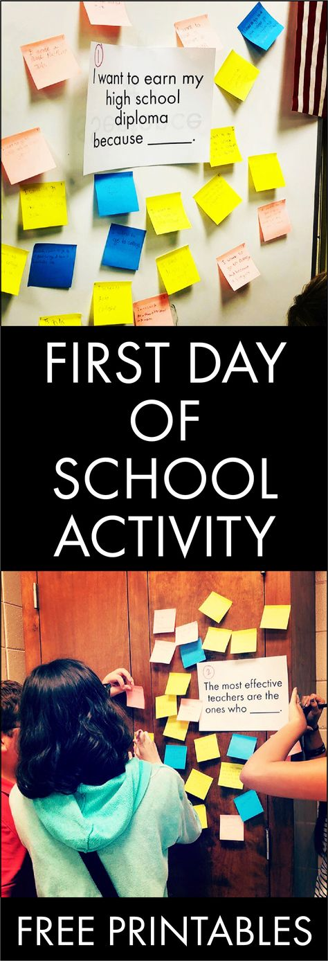 Get kids out of their seats on the first day of school with this FREE and fun alternative to traditional classroom icebreakers. Images courtesy of @thisismyteachergram #teachers #classroom #icebreaker #firstdayofschool