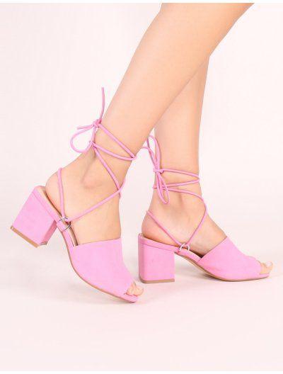 9eb5134c1da Paddington Lace Up Block Heeled Mules in Pink | public desire | Lace ...