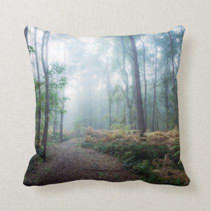 Misty Forest Walk Throw Pillow Zazzle Com Misty Forest Throw Pillows Misty