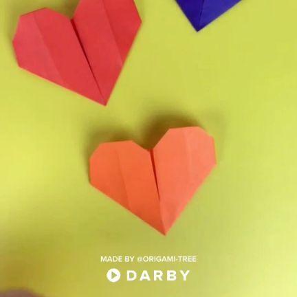 How to Make Origami Hearts #coloredpaper #artsandcrafts #darbysmart