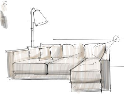 Interior Design Rendering Working On A Sofa Design With A Lamp In