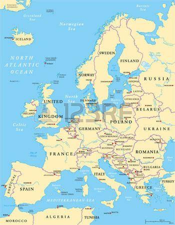 Politico Mapa Europa Con Capitales.Europa Mapa Politico Y La Region Circundante Con Los Paises
