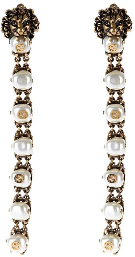 85220dcc1 GUCCI Pearl-effect embellished lion earrings #Gucci #earring #ShopStyle  #MyShopStyle click link for more information