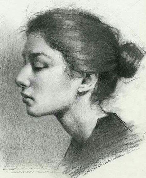 Pencil Art Drawings, Realistic Drawings, Art Drawings Sketches, Portrait Sketches, Pencil Portrait, Portrait Art, Charcoal Portraits, Charcoal Art, Figure Drawing