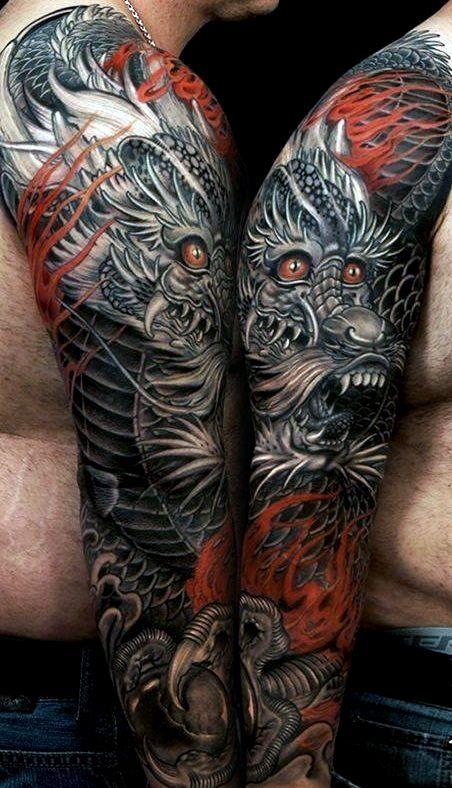 Dragon Tattoo Arm Sleeve Gallery In 2020 Tattoos For Guys Dragon Tattoos For Men Dragon Tattoo Arm