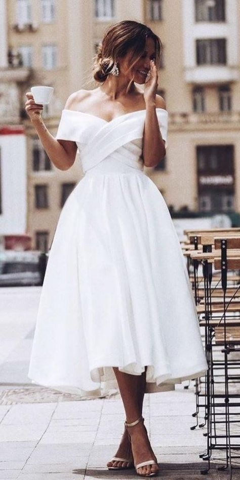 White Wedding Guest Dresses, Boho Wedding Dress With Sleeves, Civil Wedding Dresses, Dresses To Wear To A Wedding, Tea Length Wedding Dress, Tea Length Dresses, Wedding Gowns, Wedding Bride, Prom Dresses
