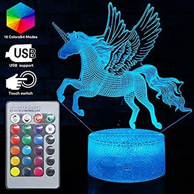 3d Unicorn Lamp Led Optical Illusion Lamps Light With Smart Touch Remote Controller 16 Rgb Colors Bday Xmas Part In 2020 Unicorn Lamp Baby Night Light Night Light Kids