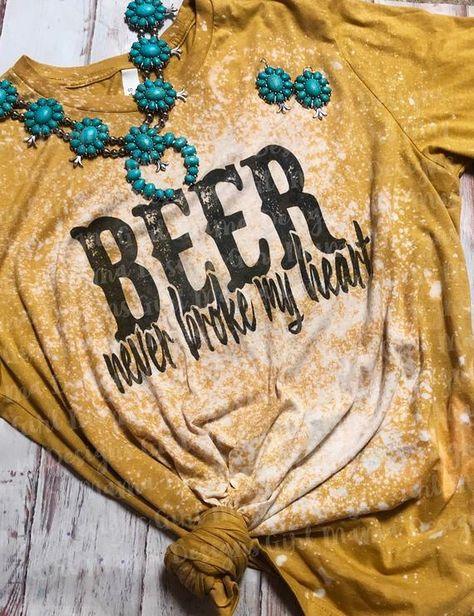 This listing is for (1) Beer Never Broke My Heart Acid Washed Graphic Tee Sublimation Design Pressed onto a Heather Mustard Bella Canvas Tee 52% Airlume Combed and Ring-spun Cotton, 48% Polyester These Tees Typically Run True To Size I suggest to size down for a more fitted fit & Size up for an