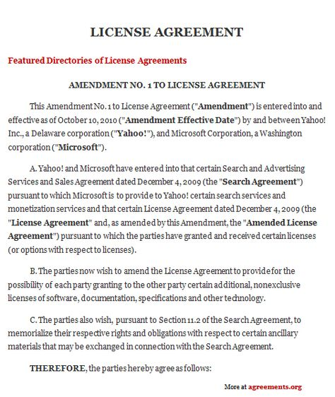 License Agreement Licence Agreement Sample Resume Templates
