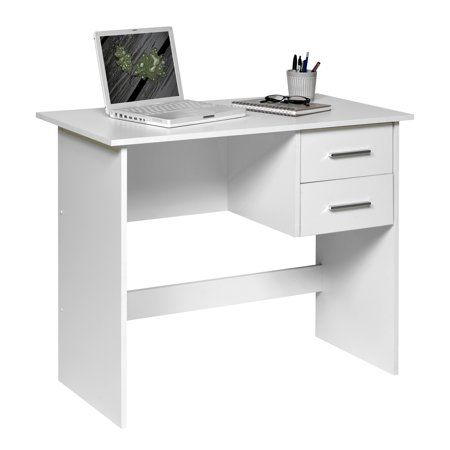 Comfort Products Adina 2 Drawers Writing Desk Walmart Com Small Office Desk Desks For Small Spaces White Computer Desk