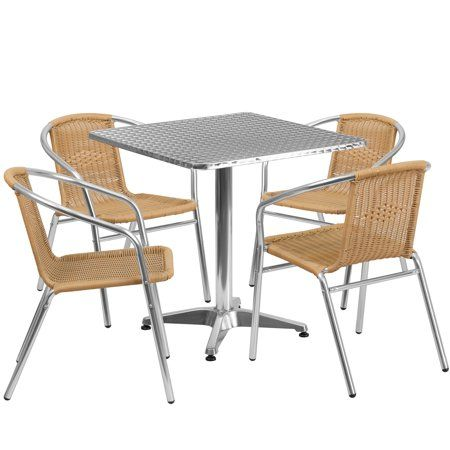 Flash Furniture Outdoor Patio Dining Set Aluminum Table With 4