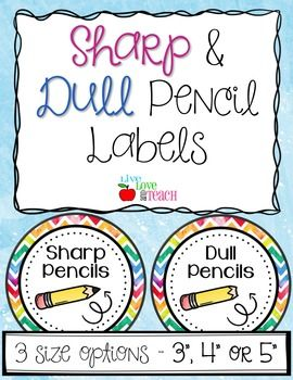 """This is a PDF download for my {FREE} Rainbow Watercolor Sharp and Dull Pencil Labels.Offered in sizes of 3"""", 4"""", or 5"""" circles, these labels are perfect for sorting your sharpened and ready-to-write pencils from your dull and need-to-be-sharpened pencils in your classroom!"""