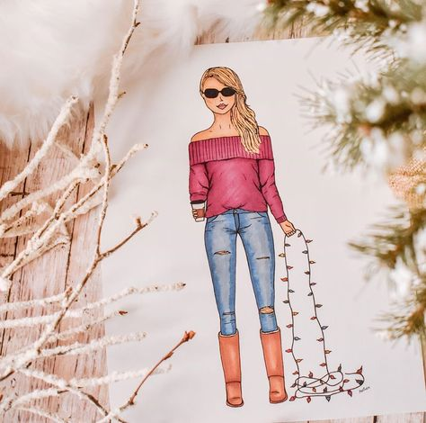Wishing everyone the best Christmas yet 😊 . . . #laart #laartist #fashionillustration #coffeeart #chicky #iheartchicky #giftideas #etsy #etsyshop #etsyhunter #etsyusa #etsyfinds #etsyseller #fashion #losangeles #fashionart #prettythings #instaart #etsygifts #diy #humpday #christmas2019 #offtheshouldersweater #christmaslights #hohoho #christmasart #wednesdaywisdom #uggs