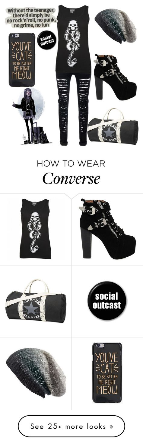 """""""Walk the walk"""" by the-uninportant-emo on Polyvore featuring Converse, Michael Stars, Jeffrey Campbell and emo"""