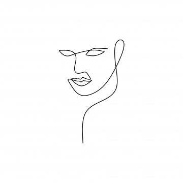 Abstract Face Continuous One Line Drawing Vector Illustration