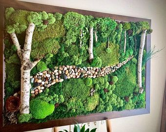 55x22 Living Wall Extra Large Art Moss Wall Art Preserved Moss Art No Maintenance Gifts For Home Living Wall Art Moss Wall Art Moss Wall