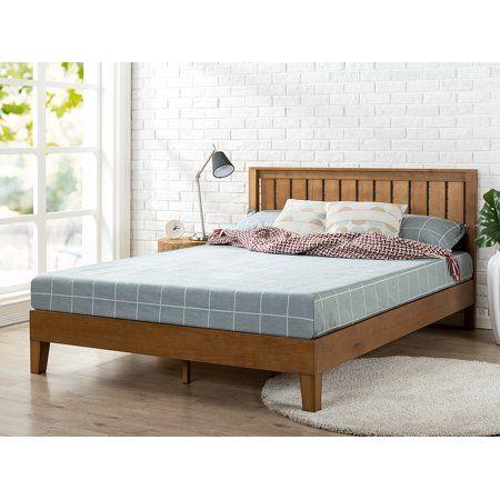 Zinus Alexis Deluxe Solid Wood Platform Bed With Headboard Rustic