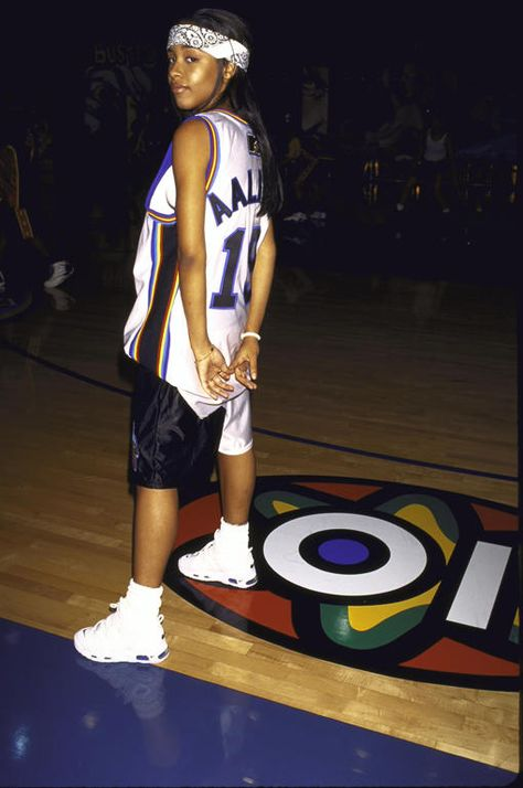Aaliyah reps her team at MTV's Rock N' Jock.  Click through to see more photos & read the oral history of the legendary show.