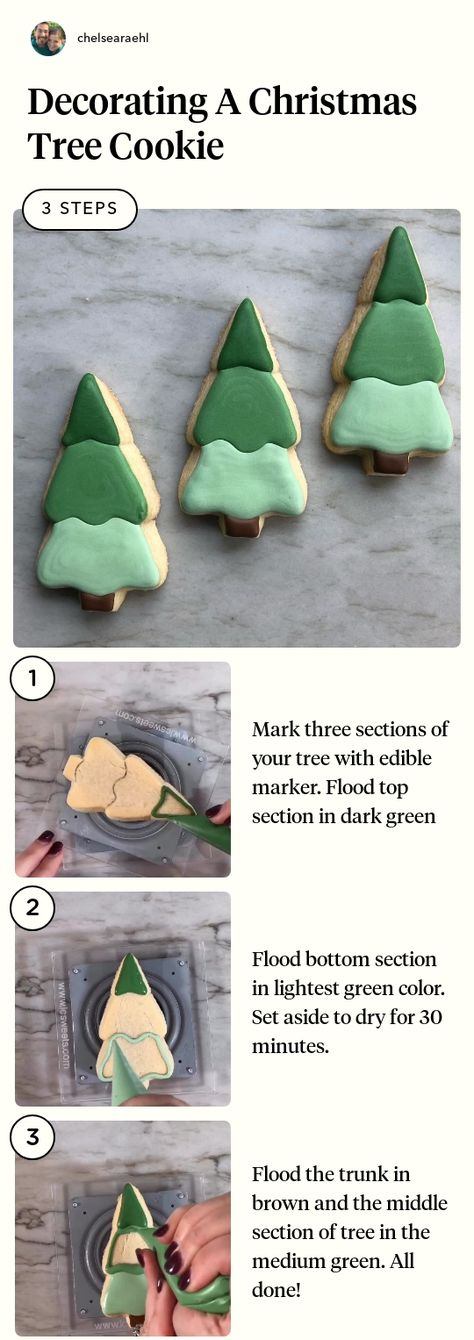 Decorating A Christmas Tree Cookie in 3 steps using Royal Icing In 3 Shades Of Green And A Warm Brown, Scribe And Marker #jumpropecreators #madeonjumprope #jumpropeapp #jumprope  #christmascrafts #christmasdiy #christmasideas #christmas #christmassnacks #christmastreats #christmasrecipes #christmastree #holiday #diychristmas #snacks #sweetsnacks #treats #christmascookie #desserts #cookingmethod #baking #cookies #bakingparty